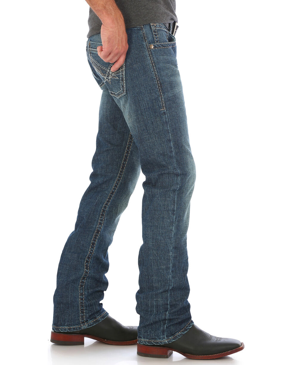 Wrangler Rock 47 Slim Fit Soul Western Jeans - Straight Leg , Medium Blue, hi-res
