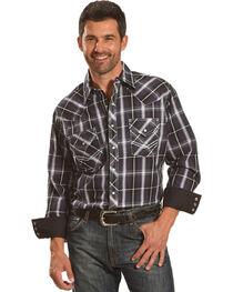Ely Cattleman Men's Purple Textured Accent Stitch Plaid Shirt , , hi-res