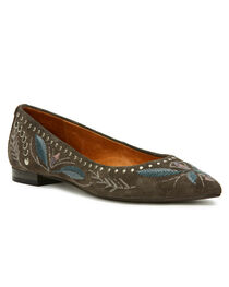 Frye Women's Grey Sienna Embroidered Ballet Flats - Pointed Toe, , hi-res