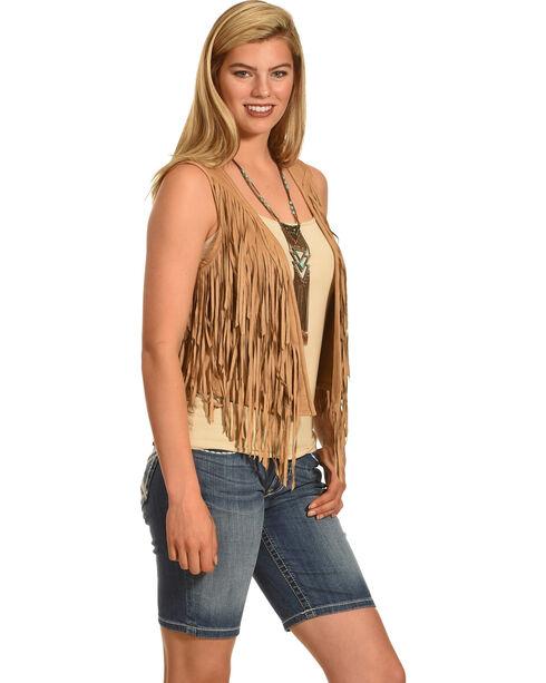Shyanne Women's Fringe Vest, Tan, hi-res