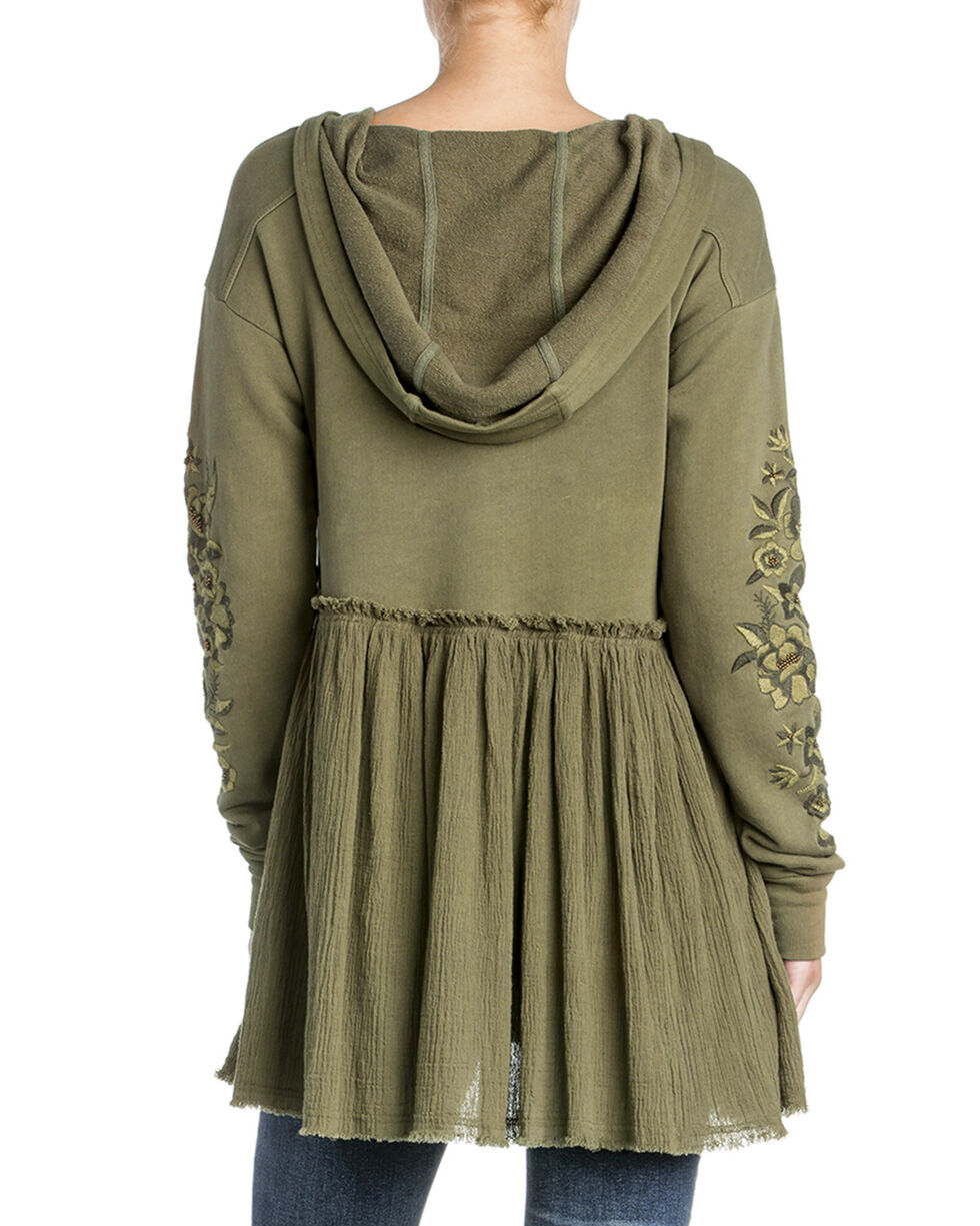 Miss Me Women's Long Sleeve Embroidered Hoodie Top, Olive, hi-res