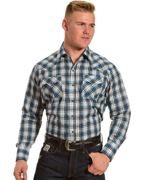 Ely Cattleman Men's Teal Textured Plaid Western Shirt , Teal, hi-res
