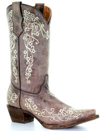 Corral Girls' Scroll Embroidery Western Boots, , hi-res