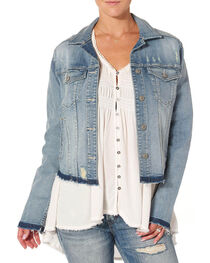 Silver Women's Denim Jacket with Fray, , hi-res