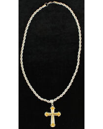 Twister Men's 3D Gold and Silver Cross Necklace , , hi-res