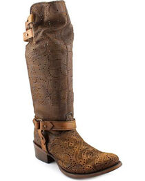 Corral Women's Chocolate Slouch Harness & Top Strap Cowgirl Boots - Medium Toe , , hi-res
