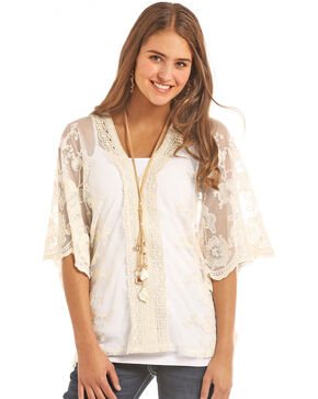 Rock & Roll Cowgirl Crochet V-Neck Poncho, Natural, hi-res