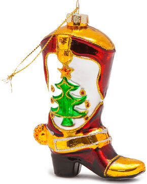 BB Ranch Glittery Glass Boot Ornament, No Color, hi-res