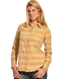 Ryan Michael Women's Vintage Ombre Plaid Shirt, , hi-res