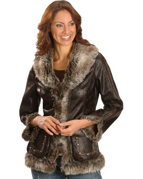 Scully Women's Faux Fur Shearling Jacket, Dark Brown, hi-res