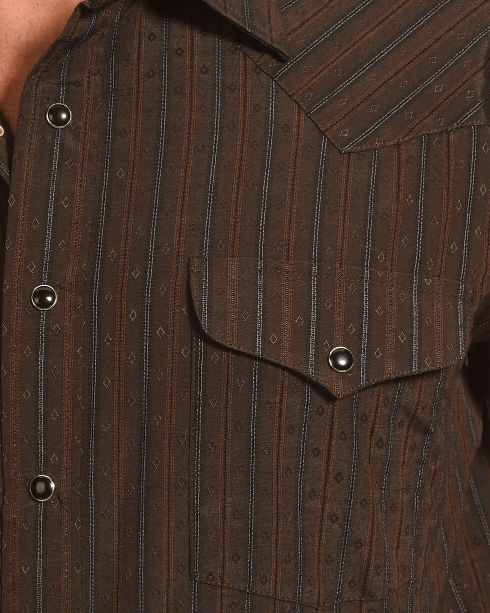 Panhandle Men's Brown Dobby Stripe Long Sleeve Western Shirt, Brown, hi-res