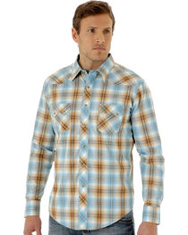 Wrangler Men's Blue and Tan Plaid Long Sleeve Shirt, , hi-res