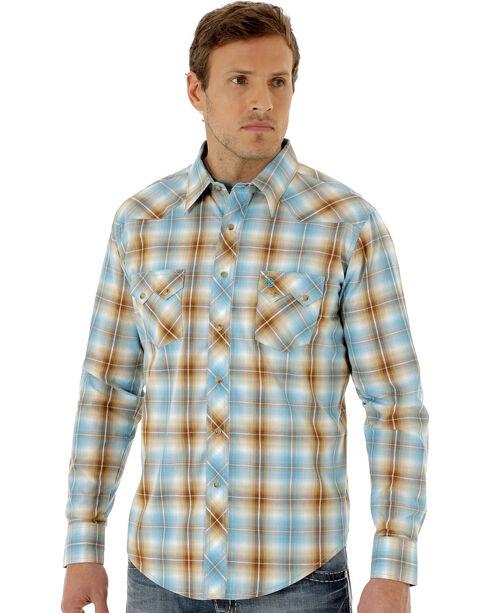 Wrangler Men's Blue and Tan Plaid Long Sleeve Shirt, Green, hi-res