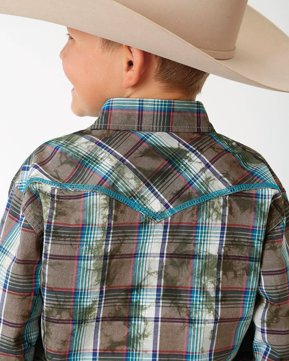 Roper Boys' Brown Plaid Double Print Western Shirt , Brown, hi-res