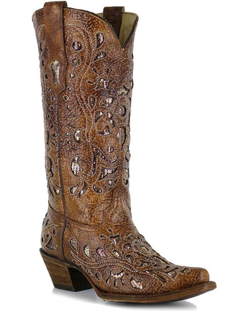 Corral Women's Sequin Inlay X Toe Western Boots, Brown, hi-res