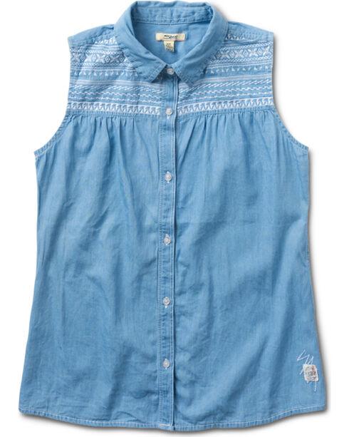 Silver Girls' Denim Light Wash Sleevless Shirt, Indigo, hi-res