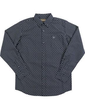 Ariat Boy's Tyler Print Pattern Long Sleeve Shirt, Black, hi-res