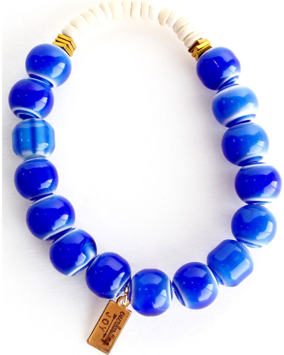 Everlasting Joy Jewelry Women's Blue Tile Coconut Bracelet , Blue, hi-res