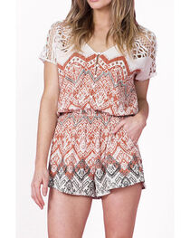 Miss Me Women's Taupe Tuscan Dreams Crochet Romper , , hi-res