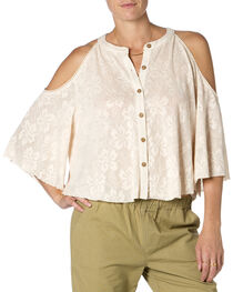 Miss Me Open Shoulder Cream Top, , hi-res