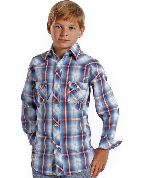 Rock and Roll Cowboy Boys' Ombre Plaid Western Shirt , Plaid, hi-res