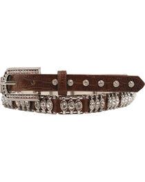 Nocona Tooled Leather Crystal Metal Bar Belt, , hi-res