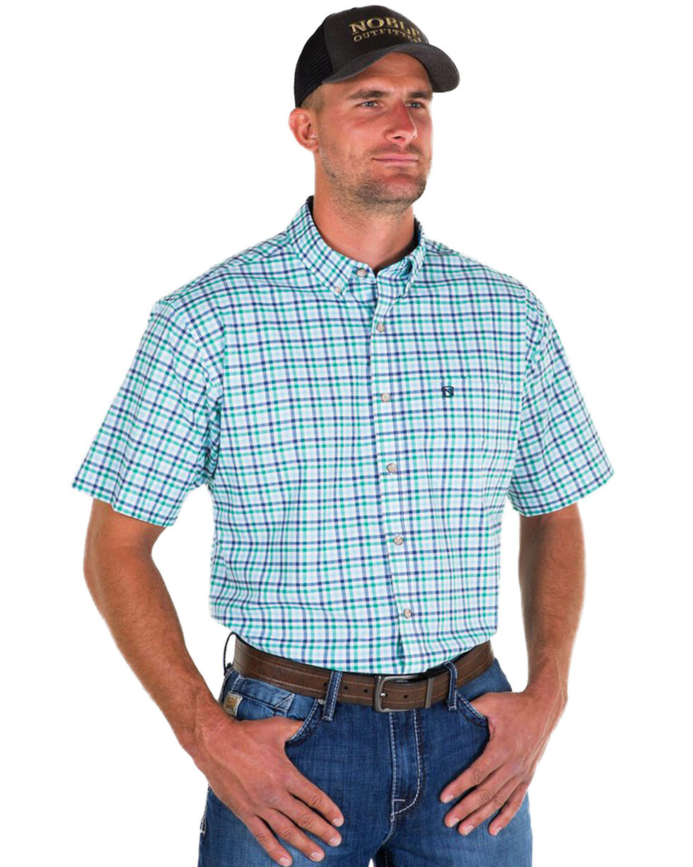 Noble Outfitters Men's Blue Generation Oxford Check Short Sleeve Shirt , Blue, hi-res