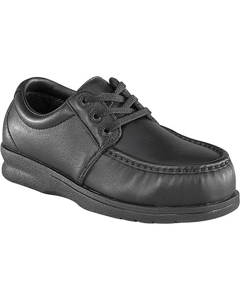 Florsheim Men's Black Pucker Oxford Work Shoes - Steel Toe, Black, hi-res