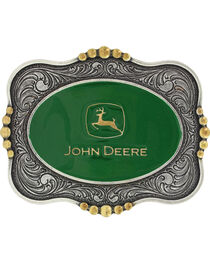 Montana Silversmiths Silver Scalloped John Deere Belt Buckle , , hi-res