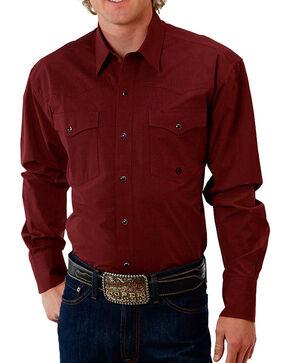 Roper Men's Solid Long Sleeve Shirt, Burgundy, hi-res