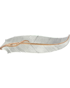 Montana Silversmiths Women's Rose Gold Accent Feather Hair Clip , Silver, hi-res