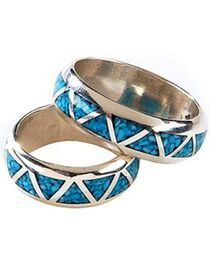 Silver Legends Turquoise Inlay Western Wedding Band, , hi-res
