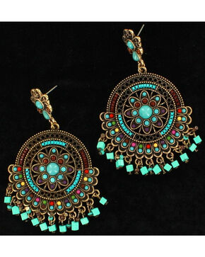 Blazin Roxx Turquoise Flair Chandelier Earrings, Turquoise, hi-res