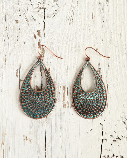 Shyanne Women's Copper Hammered Teardrop Earrings, Rust Copper, hi-res