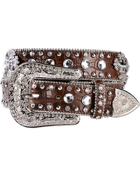 Blazin Roxx Crystal & Cross Concho Croc Print Leather Belt, Brown, hi-res