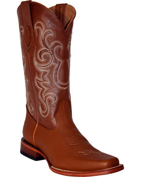 Ferrini Men's French Calf Leather Cowboy Boots - Square Toe, Cognac, hi-res