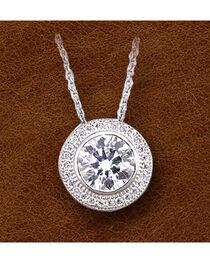 Kelly Herd Sterling Silver Pave' Bezel Set Necklace , , hi-res