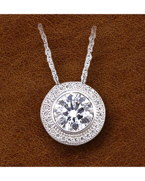 Kelly Herd Sterling Silver Pave' Bezel Set Necklace , Silver, hi-res