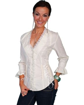 Scully Women's 3/4 Sleeve Ruffle Blouse, Cream, hi-res