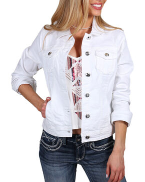 Boom Boom Jeans Women's White Vintage Denim Jacket, White, hi-res