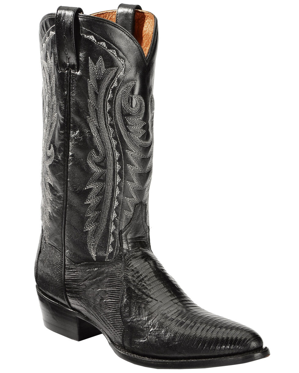 Dan Post Raleigh Black Lizard Cowboy Boots - Round Toe  , Black, hi-res