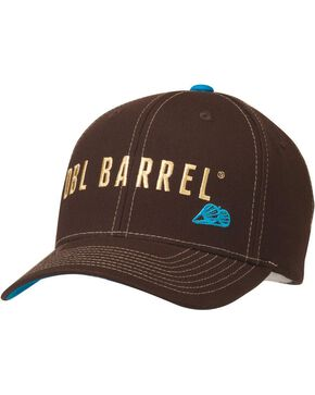 Double Barrel Logo Embroidered Flex Fit Cap, Brown, hi-res
