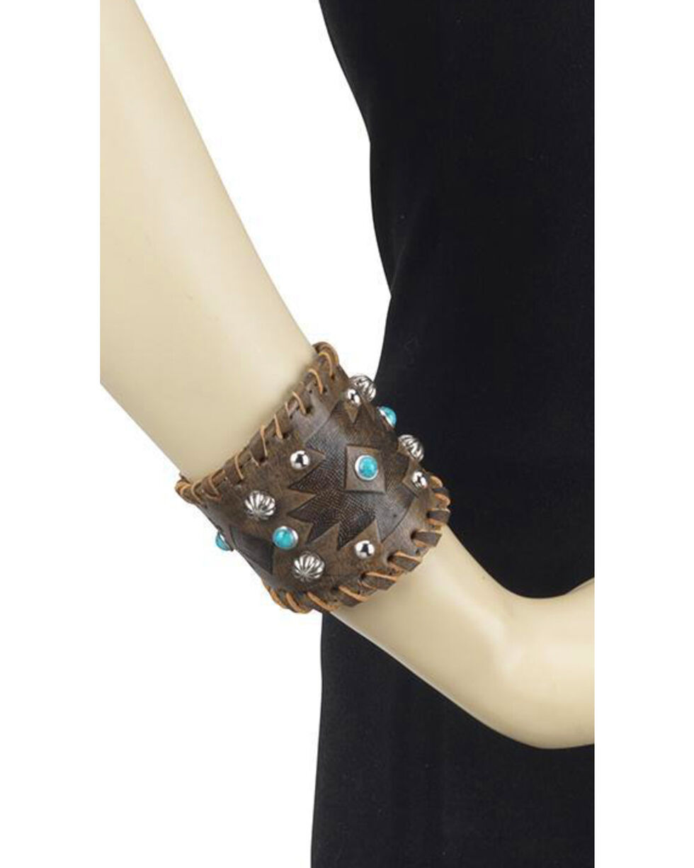 American West Women's Distressed Leather Cuff Bracelet , Distressed Brown, hi-res
