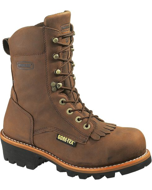 Wolverine Men's Chesapeake Steel Toe Waterproof Insulated Logger Boots, Brown, hi-res