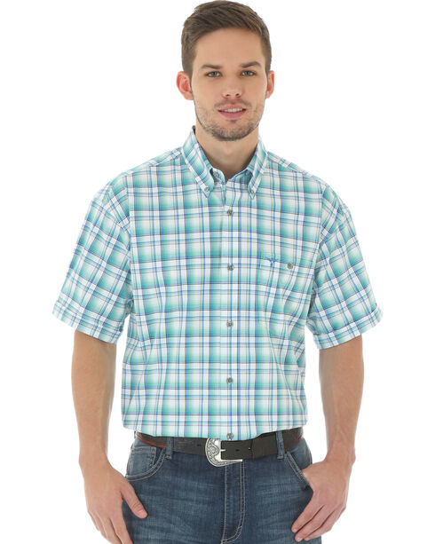 Wrangler 20X Men's Short Sleeve Plaid Button Shirt, White, hi-res