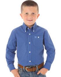 Wrangler Kid's Boys' Geo Print Long Sleeve Western Shirt, , hi-res