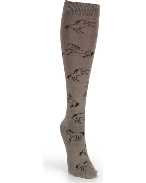 Wrangler Women's Horse Boot Socks, Taupe, hi-res