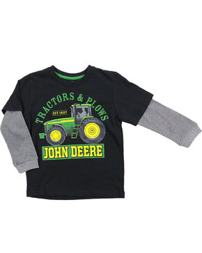 John Deere Boys' Tractors & Plows Long Sleeve T-Shirt, Black, hi-res