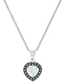 Montana Silversmiths Women's Pin Point Framed Heart Necklace , , hi-res