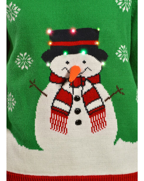 Lisa International Snowman Light Up Christmas Sweater, Green, hi-res